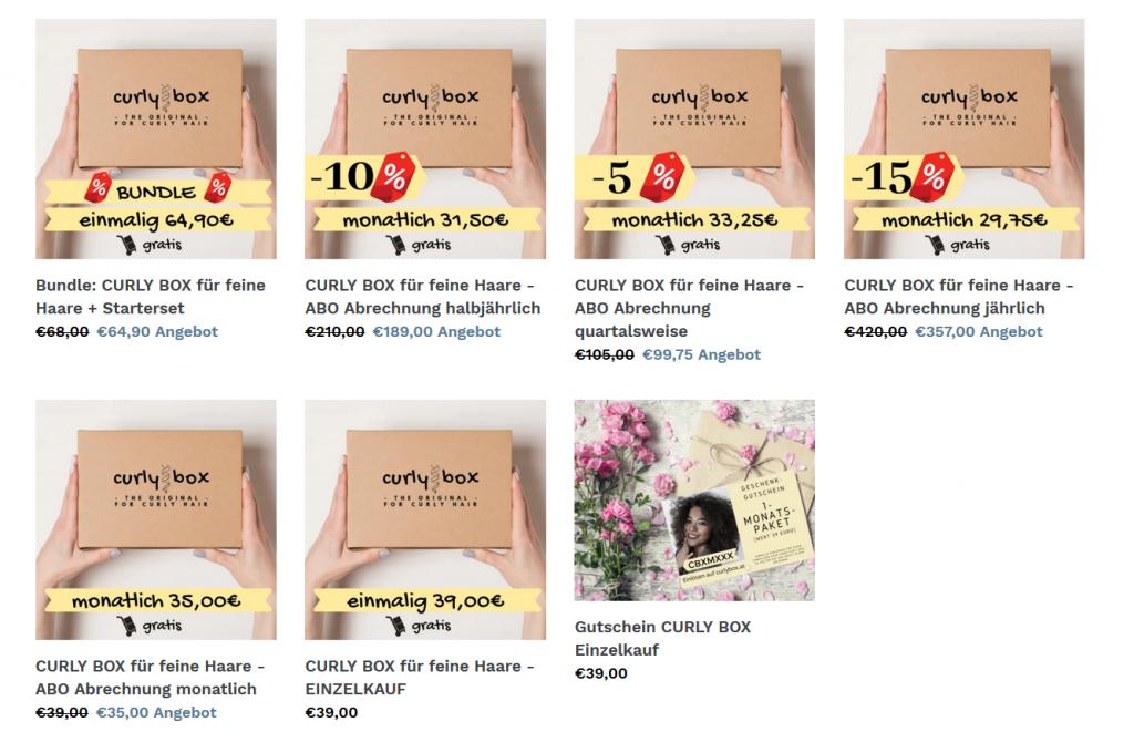 Curly Box Preise